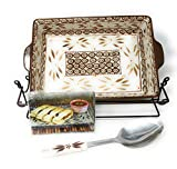 Temp-tations 4 Qt Baker Casserole or Lasagna Dish, 13x9 w/Plastic Cover, Wire Rack, Utensil, Recipes (Old World Brown)