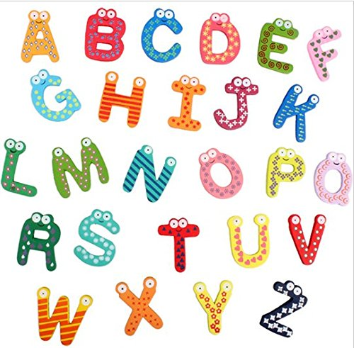 URToys 26Pcs Wooden Cute Large A-Z Letters Alphabets Style Fridge Magnets Stickers Cabochon Scrapbooking Decoration Children Educational Learning Toys