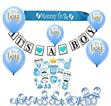 Baby Shower Decorations for Boy, It's A Boy, Banner, Blue, Mummy Sash, Acrylic Pacifiers, 10 Inches Balloons, 25 PCS. Photo Booth Props, Hanging, Party Supplies, Favors, Confetti, Indoor/Outdoor