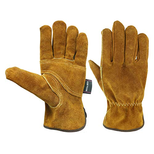 KIM YUAN Waterproof Leather Work Gloves, 1 Pairs Thorn Proof Gardening Gloves, Heavy Duty Rigger Gloves for Gardening, Fishing, Construction and Restoration Work & More (Extra Large)