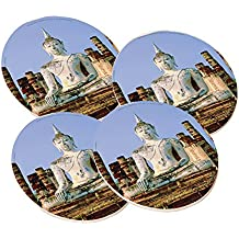 Budda of Thailand - Round Sandstone Drink Coaster (set of 4) by Elements of Space