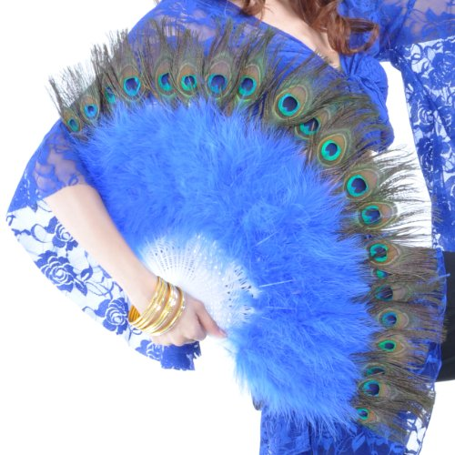 (Price/piece)BellyLady Belly Dance Peacock Feather Marabou Fan with Plastic Staves NAVYBLUE -