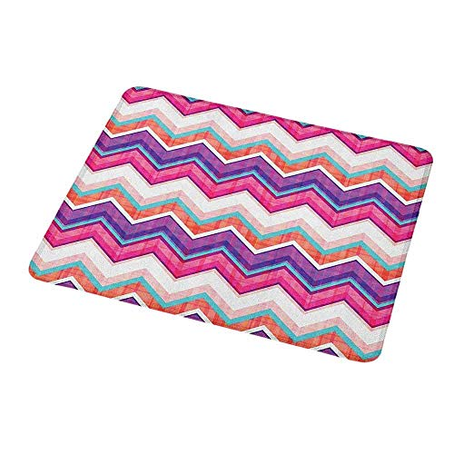 Rectangle Mouse pad Chevron,Chevron Motifs Different Colors with Variable Angles Parallel Lines Groovy Artwork,Waterproof Material Non-Slip Personalized Rectangle Mouse pad 9.8