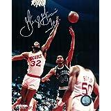 George Gervin Autographed San Antonio Spurs 8x10 Photo Hook Shot