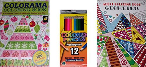 ShoppeShare Geometric Designs Adult Coloring Book, Holiday Coloring Book Colorama 12-Piece Colored Pencils 3-Piece Gift Set Bundle