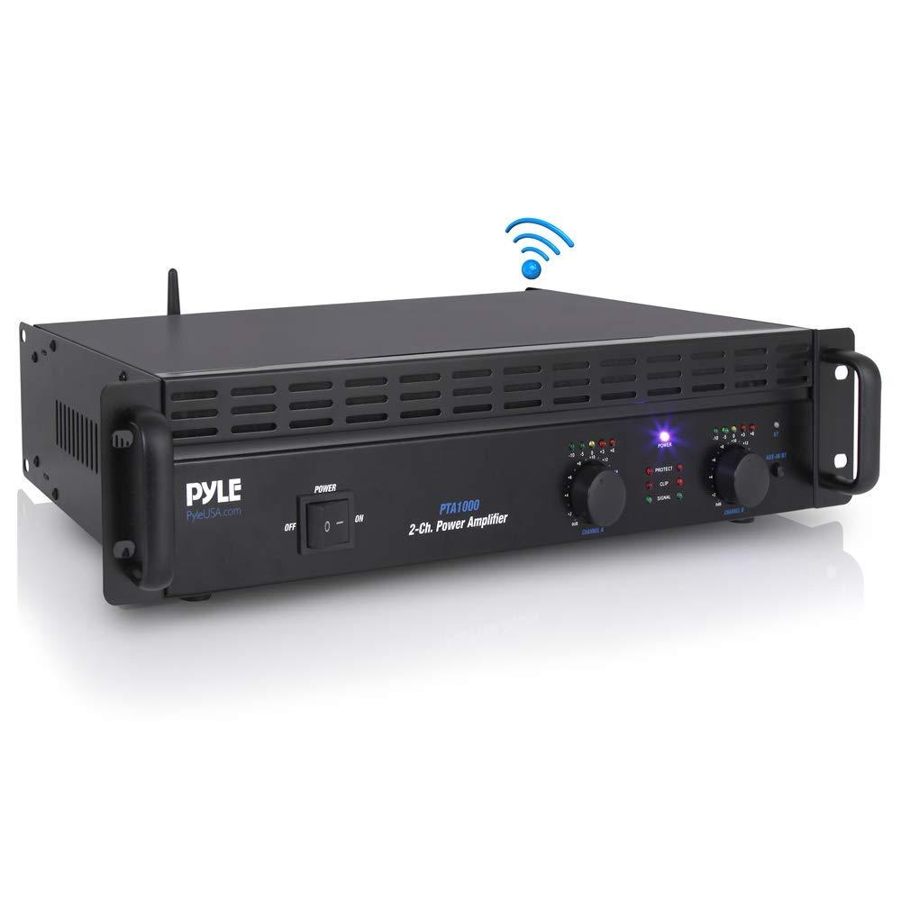 Professional Audio Bluetooth Power Amplifier - 2-Channel Rack Mount Bridgeable, LED Indicators, Shockproof Binding Posts, Cooling Fans 1000 Watt- Pyle Pro PTA1000 (Renewed)