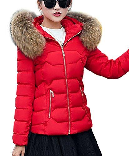 Vest Magike Fourrure Chaud avec Noir Doudoune Veston Rouge Manteau Fille la Femme Hiver Court Blanc PtrPqUTwA