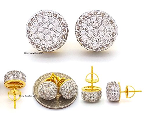 18k Two Earrings Tone (Mens 18K Yellow Gold Finish Cubic Zirconia CZ Round Stud Screw Back 10mm 2 tone Earrings)