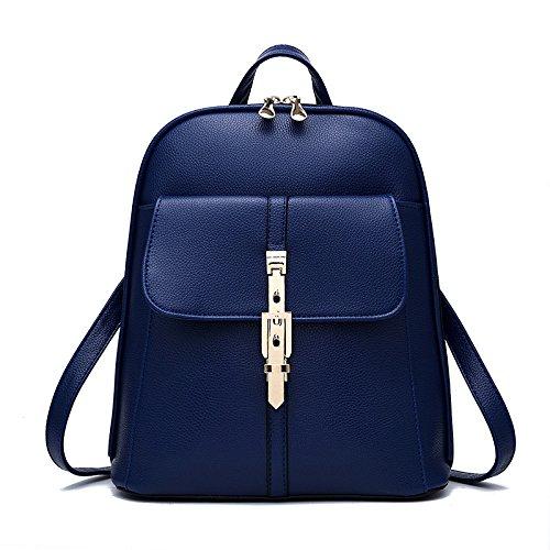 Kyokim Leather Backpack Shoulder Bag Elegant Women And Girls Lovely Blue