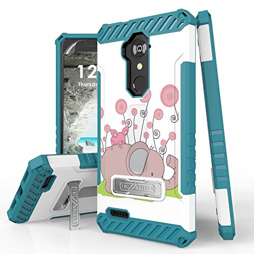 Trishield Durable Rugged Armor Phone Cover for ZTE Zmax Pro, Carry Z981, Blade X Max Case, Lanyard Loop + Built in Kickstand Pink Baby Elephant
