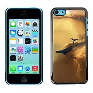 // PHONE CASE GIFT // Duro Estuche protector PC Cáscara Plástico Carcasa Funda Hard Protective Case for iPhone 5C / ABSTRACT SKY WHALE /