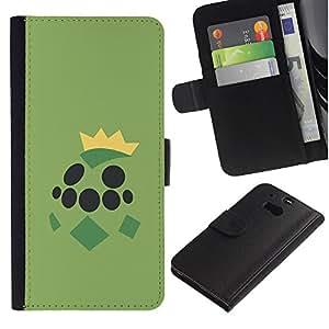 KLONGSHOP // Tirón de la caja Cartera de cuero con ranuras para tarjetas - Grean Tortuga de Poke Monster - HTC One M8 //