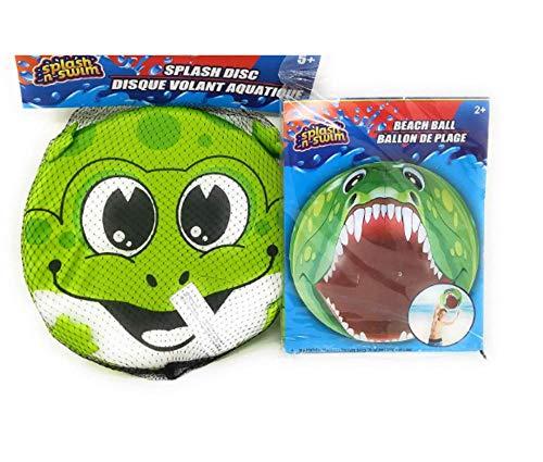 JGW Kids Summer Beach (Bonus POG Exclusive Boogie Ball) Boys Girls Fun Lake Pool Swim Splash Beach Ball Dunk Dive Disc Reptile Bite Green