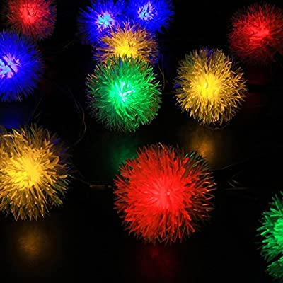 Color Our Life 16Ft 20 LED Chuzzle Ball Solar Fairy String Lights,Solar Powered String Lights for Outdoor,Patio,Gardens,camping,Christmas Party (Multi)
