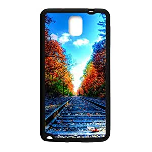 Autumn Forest And Train Track Black Phone Case for Samsung Galaxy Note3