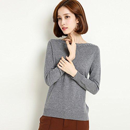 Supporto grey Colore Maglione Inverno m Pura Maniche Donna A Lana L'inverno Lunghe qYvHwUw