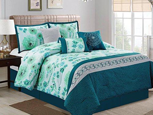 7-Pc Watercolor Floral Scroll Heart Diamond Quilted Embroidery Comforter Set Blue Green Teal Gray King