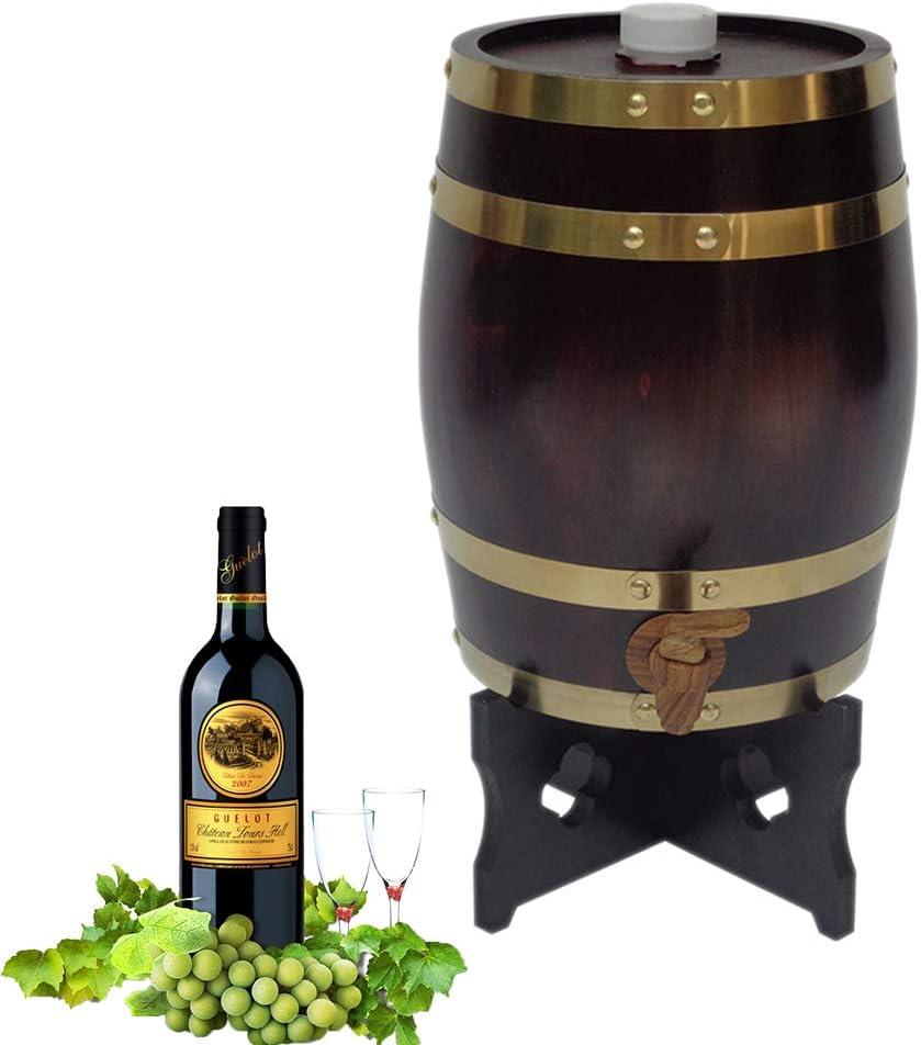 Yao 3L / 5L / 10L Cubo de Vino Cerveza Casera Barril de Vino de Madera de Roble Vintage, Cubo de Barril Accesorios de Elaboración de Cerveza Casera con Grifo