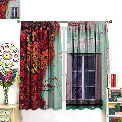 WinfreyDecor Autumn Drapes for Living Room Fall Ivy on Old House Walls Left Countryside Mansion Vintage Architecture DesignBlackout curtainRed Mint Green. W55 x L63