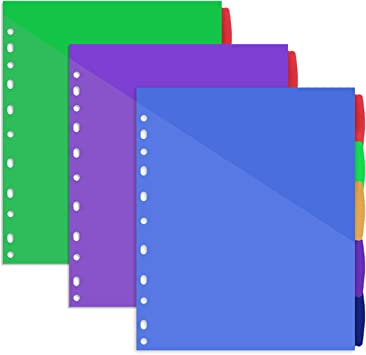 Five Star Mead 8 Tabs Binder Dividers Write on Wipe off Multicolor for 3 Rings for sale online