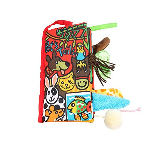 YOUDirect Soft Cloth Books - Soft Baby Funny Animal Tails Cloth Book, Early Learning Education Toddler Books Toy, Best Gift for Kids Babies (Pet Tails) (Baby Book Silk)