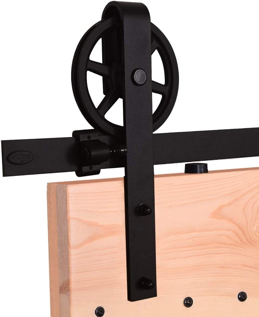 10.5FT//320cm Schiebet/ürbeschlag Set Schiebet/ürsystem Holzt/ür Gleitschienen-Kleiderb/ügel f/ür Doppelt/üren-Sliding Barn Wood Door Hardware Kit For Double Door