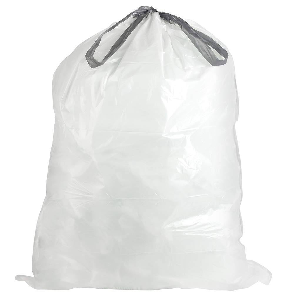 a9ba5ed557d62 Plasticplace W18528W11DCR Custom Fit Trash Bags │ Simplehuman Code H  Compatible │ 8-9 Gallon / 30-35 Liter White Drawstring Garbage Liners │  18.5