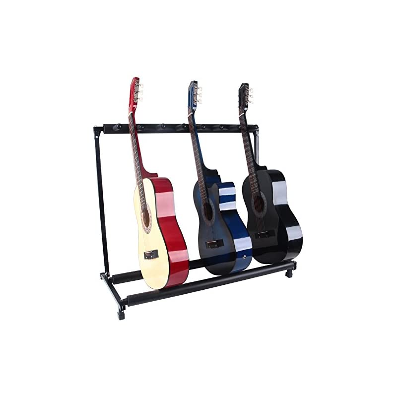 LAGRIMA 7 Multi Guitar Bass Folding Stand Stage 7 Holder Rack Guitar Stand