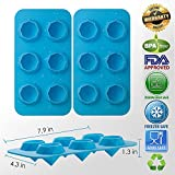 Samuelworld Diamond Ice Cube Trays Silicone Mold For Diamond Shaped Ice, Jelly, Chocolate And Soap - 2 Pack Of Flexible Trays In Blue, Green Or Red – BPA Free Washable And Durable