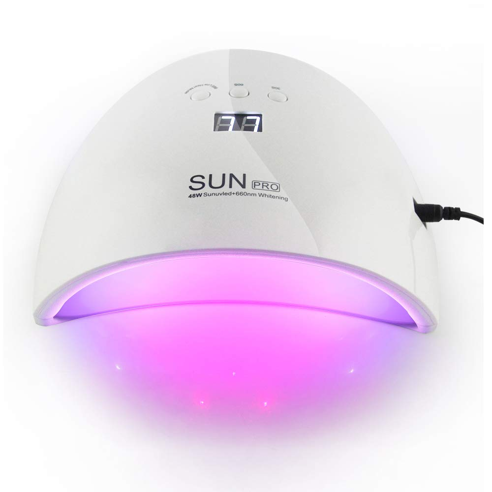 48W UV Light LED Nail Dryer Curing Lamp for Fingernail and Toenail Gels Based Polishes with Sensor, Works With All Gel Nail Polishes (white) Easy Buy Everyday