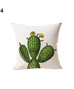 AchidistviQ cactus e piante grasse in vaso confortevole in lino federa divano casa cuscino 4#