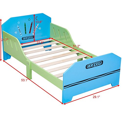 COLIBROX Crayon Themed Wood Kids Bed with Bed Rails for Toddlers and Children Colorful. solid wood children's bedroom furniture. wooden toddler bed with drawer. non toxic twin bed. by COLIBROX (Image #1)
