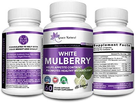White Mulberry Leaf Extract-Supports Healthy Glucose Levels-Natural Premium Blood Sugar Control-Appetite suppressant for Weight Loss and Fat Loss, Natural Weight Loss Supplement, Non-GMO-Made in USA 1