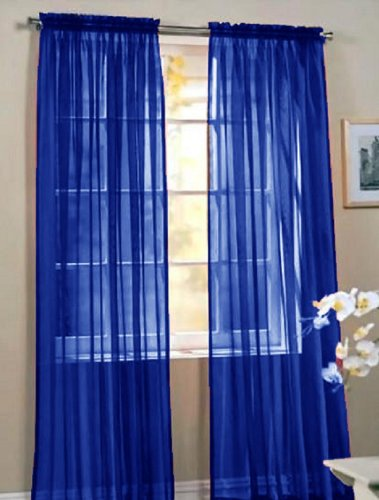 2 Piece Beautiful Sheer Window Royal Blue Elegance Curtains Drape Panels Treatment 60 W X 84 L