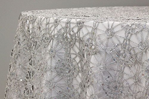 Sequin Studded Chemical Lace Embroidery Fabric Table Runner Overlay Sash 5 ()