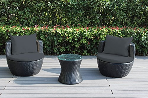 Ohana 3-Piece Outdoor Wicker Patio Conversation Set with ...