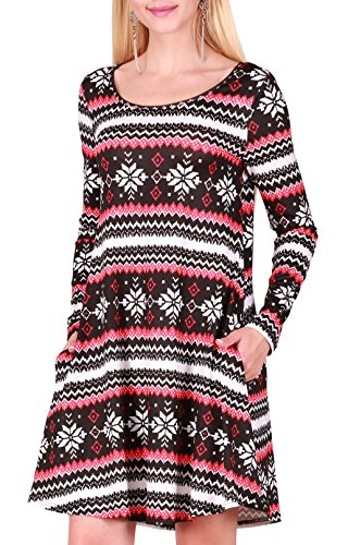Christmas Themed Dresses - Cute Print Crewneck Shift Tunic Dresses Full Skirt for Ugly Christmas Party XL