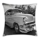 pin up car seat covers - Vintage Throw Pillow Cushion Cover by Ambesonne, 50s 60s Retro Classic Pin Up Style Cars in Hollywood Movies Image Artwork, Decorative Square Accent Pillow Case, 16 X 16 Inches, Black White and Gray