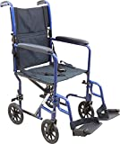 Roscoe Medical KTA1916SA-BL Aluminum Transport Wheelchair, Blue