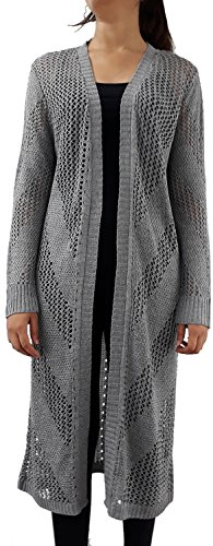 Serendipity Women's Mesh and Chevron Long Sleeve Open Duster Cardigan (Small, Heather Grey)