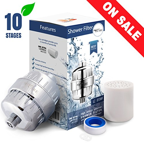 10-Stage Shower Filter- Shower Head Filter - Chlorine Filter - Hard Water Filter - Water Softener - Showerhead Filter - 2 Replaceable Filter Cartridges - Water Filter For Shower Head, Handheld Shower - Chlorine Shower Filter