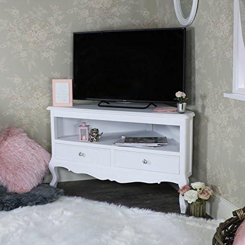 Melody Maison Mueble esquinero para TV, color blanco: Amazon.es: Hogar