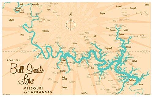 Bull Shoals Lake MO Arkansas Map Vintage-Style Art Print by Lakebound (12