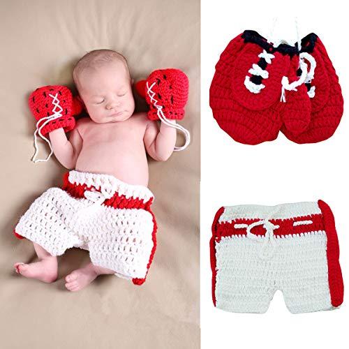 Tianhaik Fotografie Prop Outfit Pasgeboren Baby Fotografie Props Kleding Gehaakte Bokshandschoenen Broek voor 0-3…