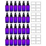 Purple 2 oz Boston Round PET (BPA Free) with Treatment Pump (24 pack) + Labels