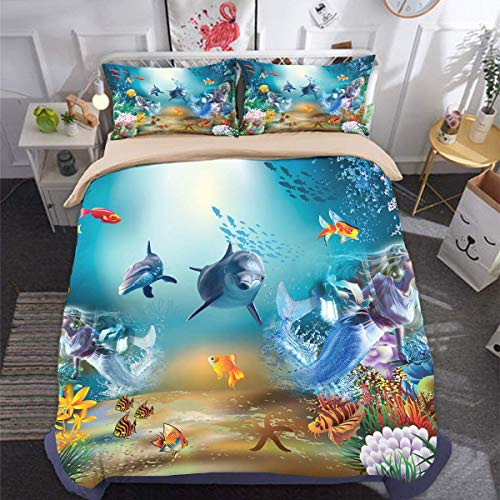 Guidear Underwater World Dolphin Mermaid Bedding Set for Kids Children Marine Life Duvet Cover with 1 Pillowcases Finding Nemo Microfiber Quilt Cover Twin Size 68