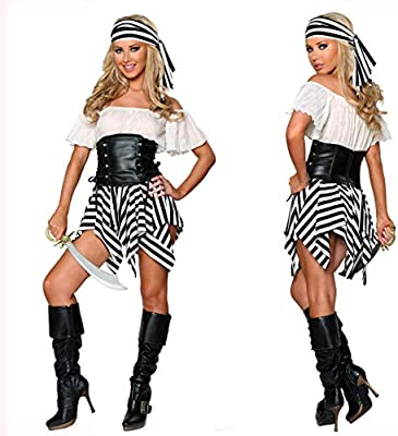 LVLUOYE Mujer Cosplay Traje de Pirata Carnaval de Halloween Tema ...
