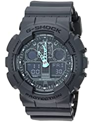 Casio Mens G-Shock Analog-Digital Watch GA-100C-8ACR, Grey/Neon Blue