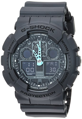Casio Men's G-Shock Analog-Digital Watch GA-100C-8ACR, Grey/Neon Blue ()