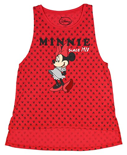 Disney Minnie Mouse Juniors Allover Design Hi-Lo Tank Top (LG, 11/13) (Disney Clothing For Adults)